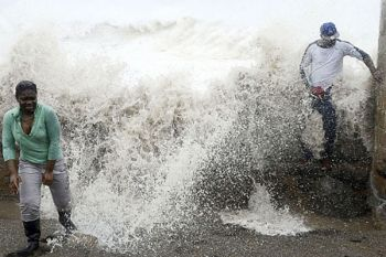 Hurricane Sandy barrelled into Jamaica